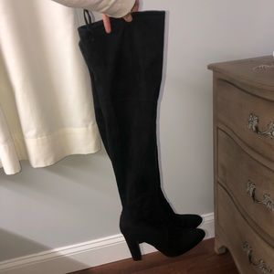 Black over the knee suede heel boots
